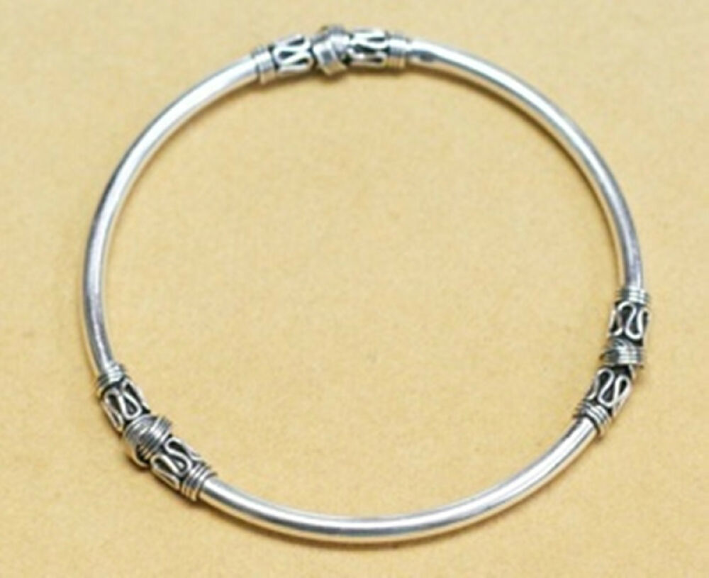 New 925 Sterling Silver Womens Bangle Mens Bracelet Smooth ...