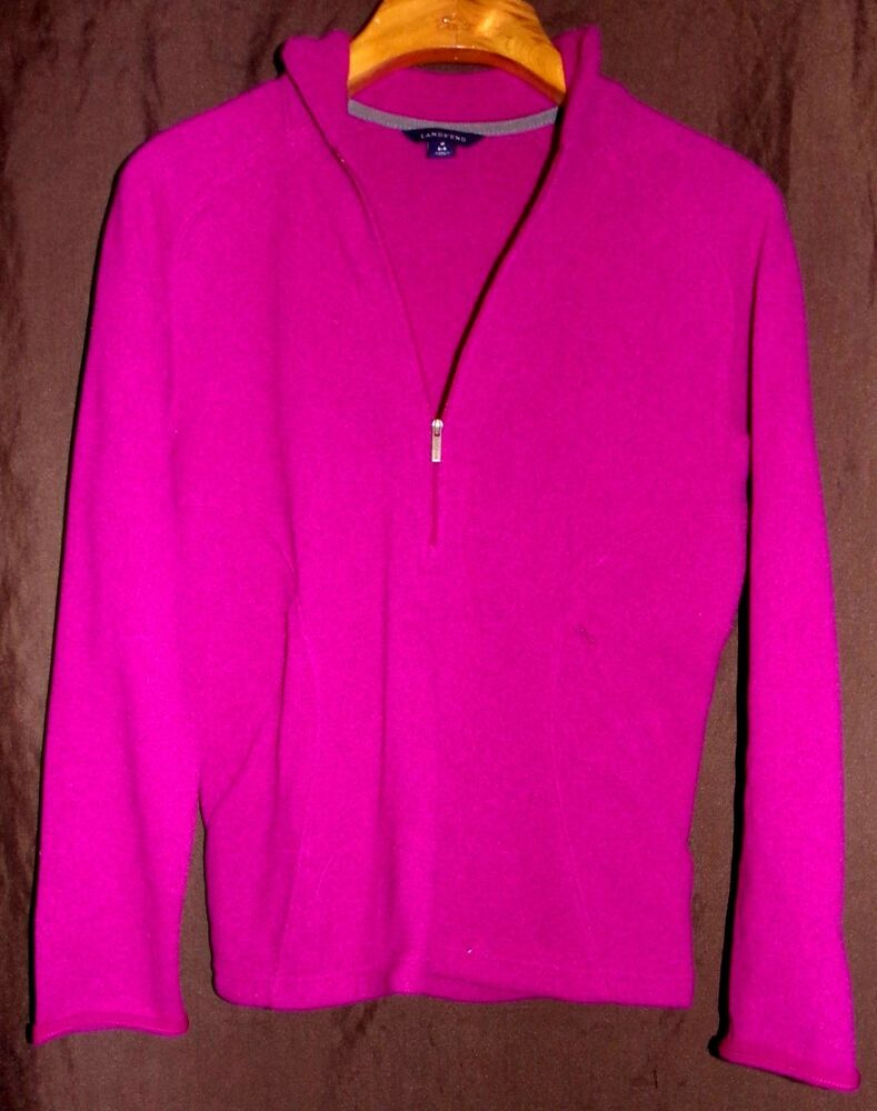 Lands end womens fleece pullover 1 4 zip jacket size small for Lands end logo shirts