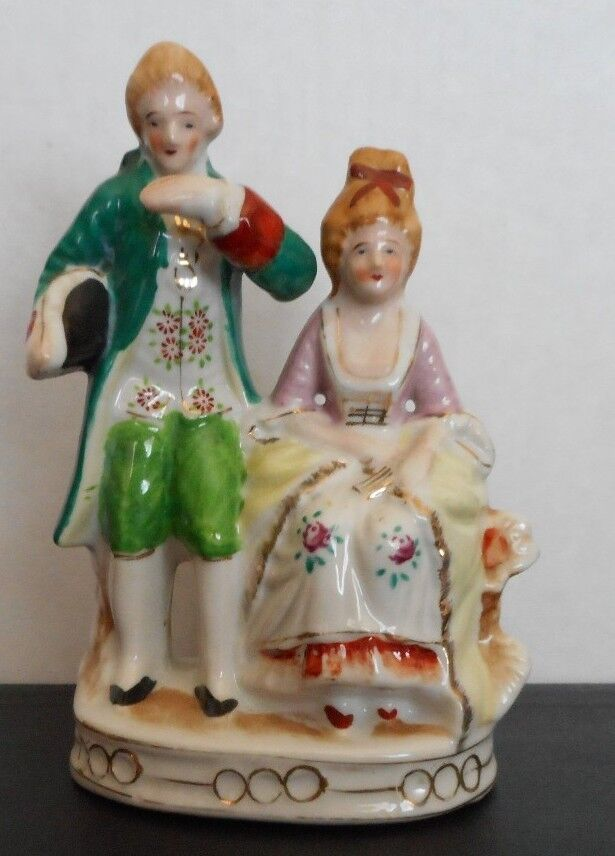 """7"""" Porcelain Victorian Man & Woman Painted Porcelain Figurines Made in Japan  eBay"""