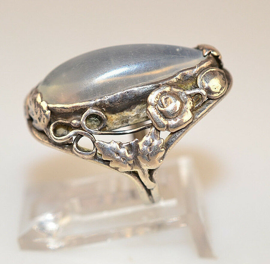 Vintage arts crafts sterling silver long moonstone ring for Art craft engagement rings