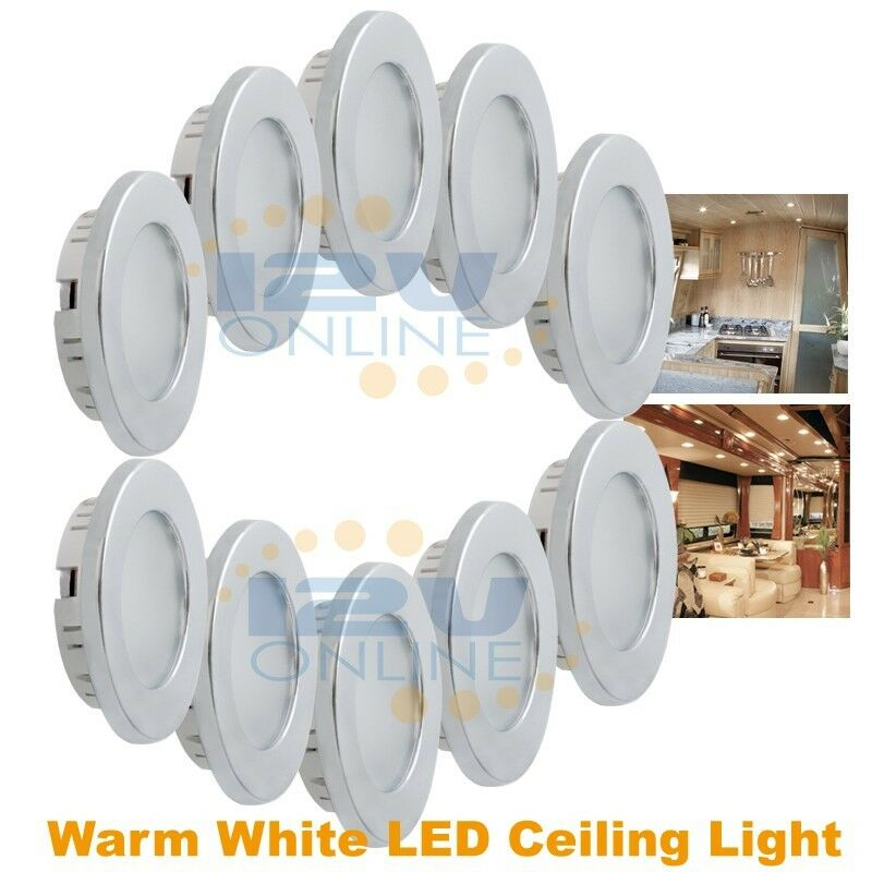 10X12V 70mm LED Recessed Ceiling Light RV Camper Cabinet