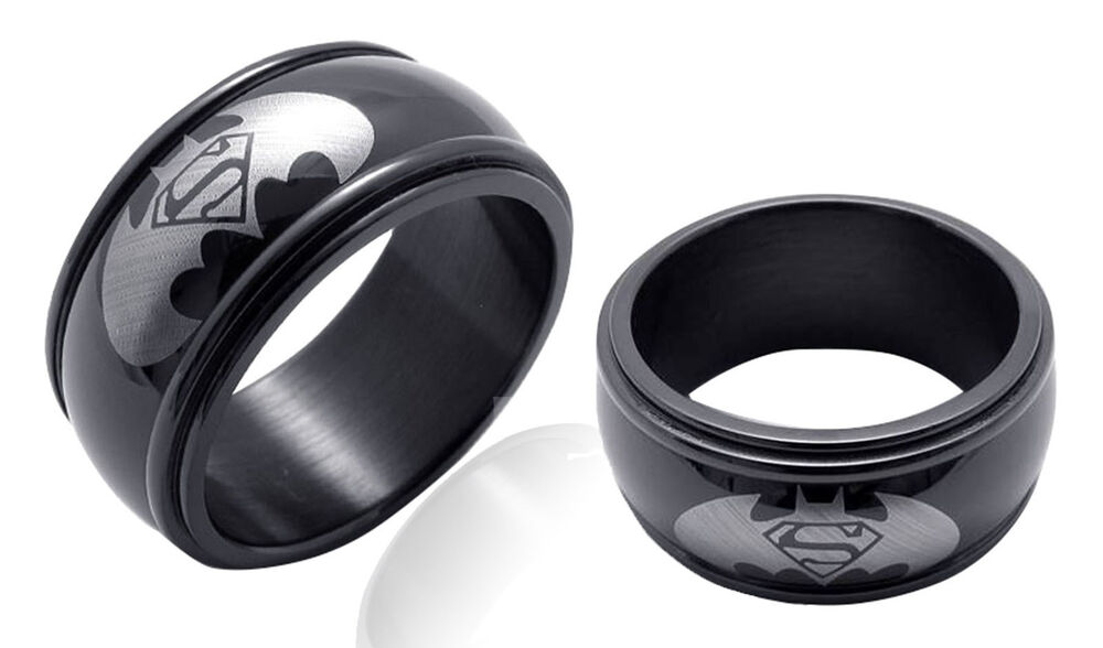 Batman image mens black stainless steel carbide wedding for Mens batman wedding ring