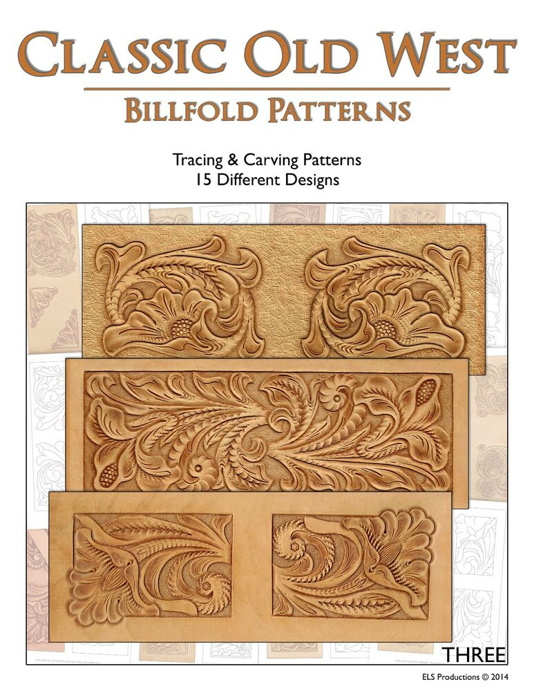 Classic old west billfold patterns tracing carving