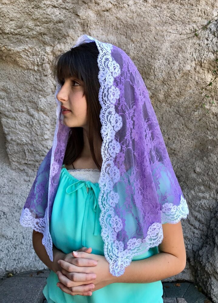 Lavender veils and mantilla Catholic church chapel scarf ...