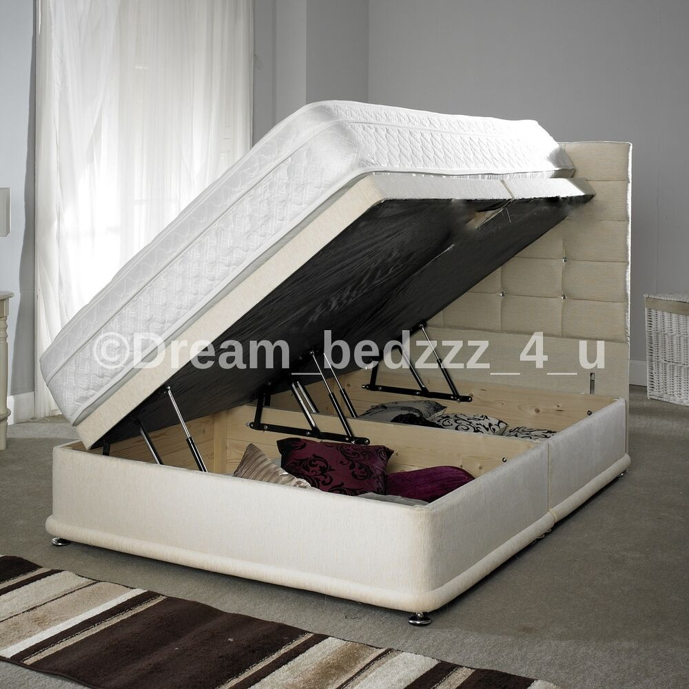 Cream storage ottoman divan chenille bed strong double for King size divan bed sale