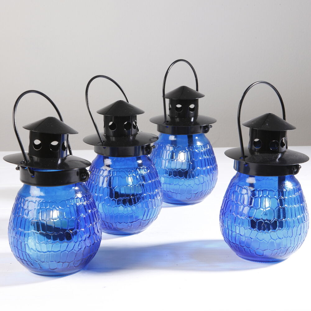 Outdoor Hanging Tea Lights: BLUE GLASS TEA LIGHT HOLDER HANGING CANDLE GARDEN PARTY