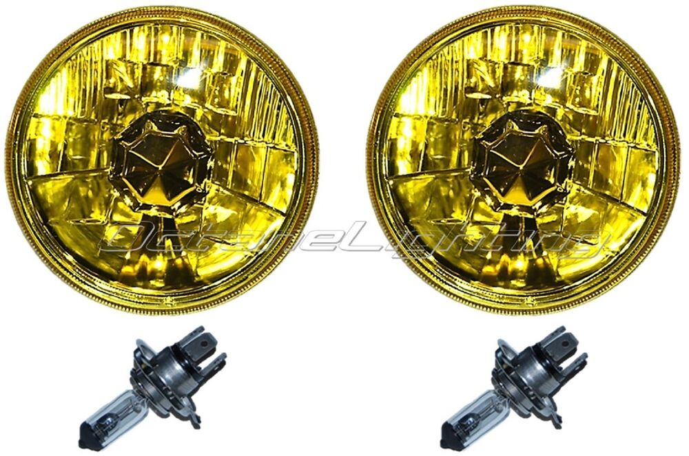 5 3 4 Quot Halogen Amber Yellow Glass Headlight Fog Light H4