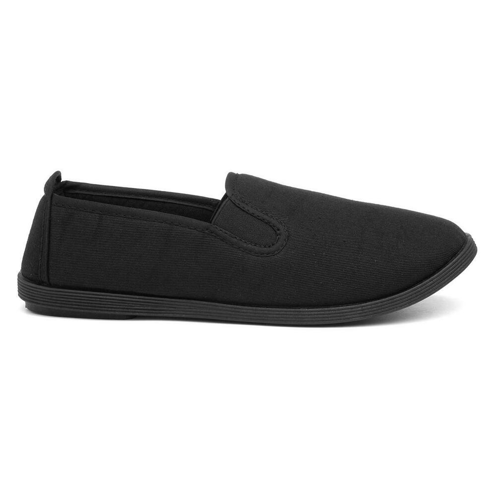 zone womens slip on canvas shoe in black sizes 3 4 5 6