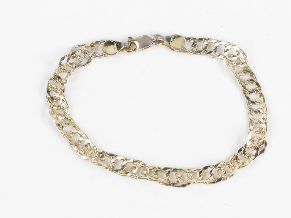 gold tone twist chain link bracelet marked 925 canada so 7