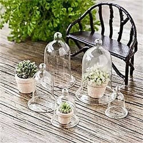 miniature dollhouse fairy garden glass cloches set of 5 new ebay. Black Bedroom Furniture Sets. Home Design Ideas