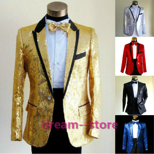 Original Mens Bling Sequins Tuxedo Suit And Tie Gangnam