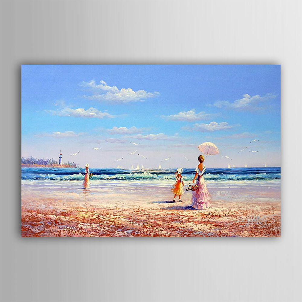Hand painted seaside beach woman children blue sky for Oil painting for kids