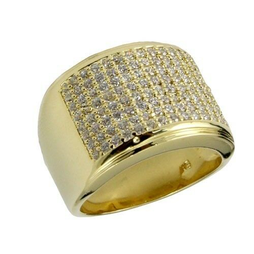 New Iced Out 14K Gold Finish Lab Diamond Hip Hop Pinky Ring Mens Wedding Band