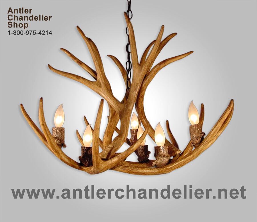FAUX ANTLER MULE DEER SINGLE TIER CHANDELIER, 6 LIGHTS, RUSTIC LAMPS, CRS-8 : eBay