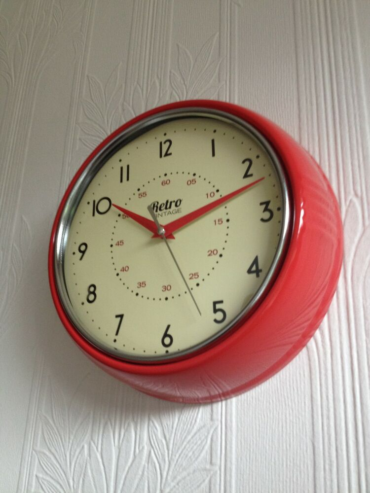 shabby round wall clock office kitchen clock red black cream ebay