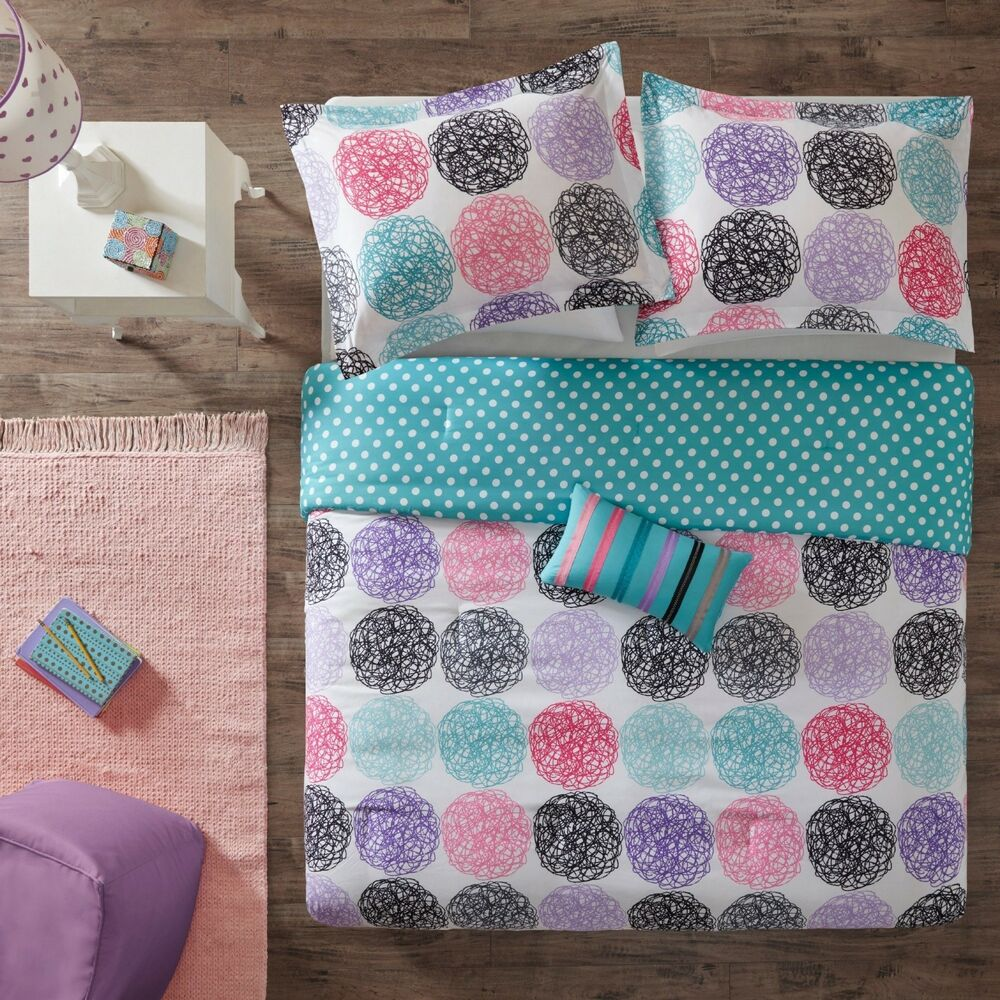 beautiful teal blue purple pink white black stripe dots girls comforter set new ebay. Black Bedroom Furniture Sets. Home Design Ideas