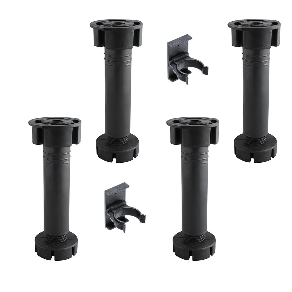 Kitchen cabinet black hardware - 4x Kitchen Cabinet Plinth Feet Legs 150mm 2 Clips Black Carcase