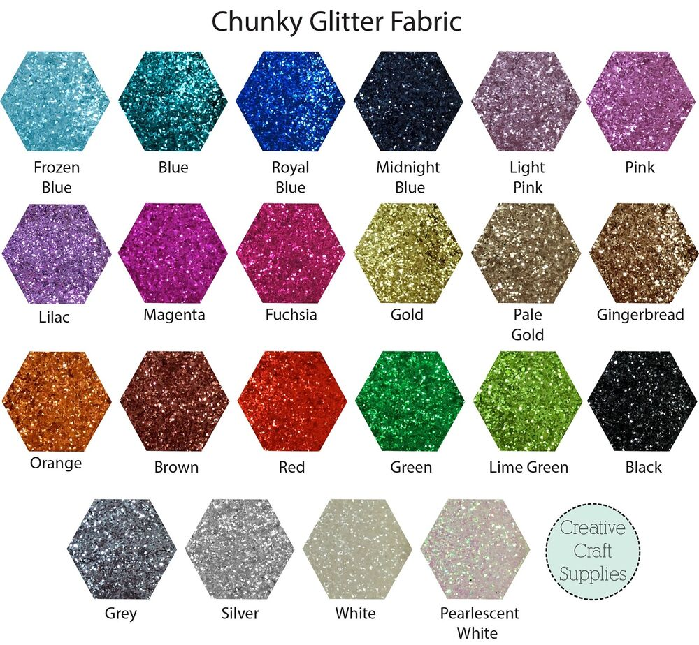 Chunky glitter fabric sheet 25cm x 30cm high quality for Sparkly material