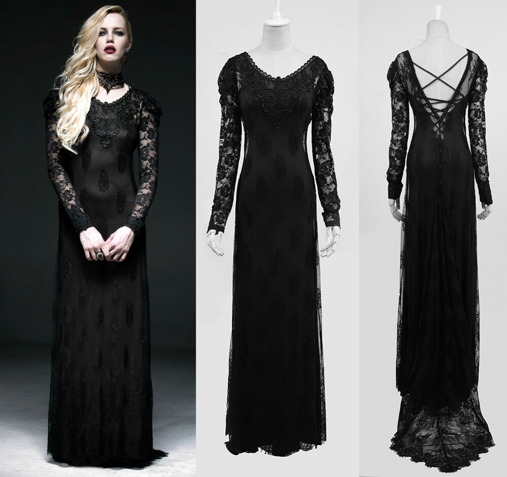 gothic punk rave kleid lang schwarz abendkleid kleider dress black spitze q 223 ebay. Black Bedroom Furniture Sets. Home Design Ideas