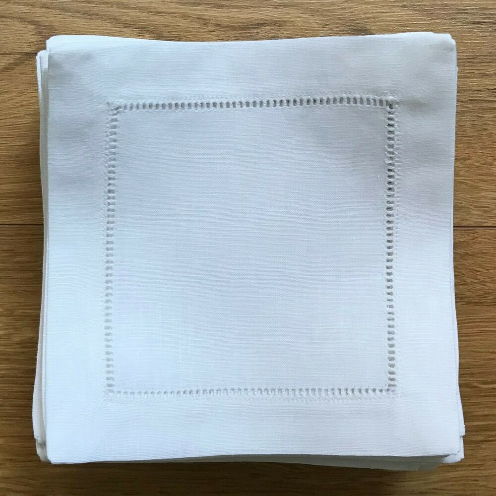 50 hemstitch linen cocktail napkin in white color 6 x6 for White linen cocktail recipe