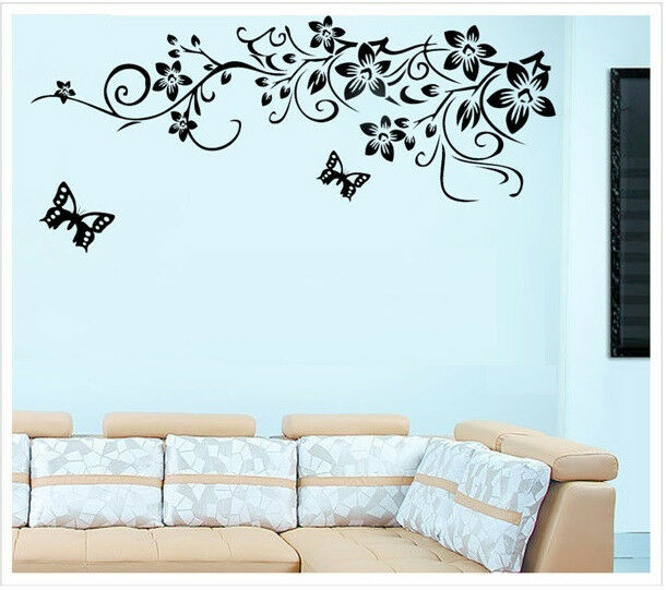 Pindia Black Flower Design Wall Sticker: Black Flower TV Background Wall Decal Removable Vinyl Art