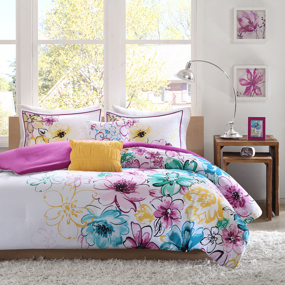 Beautiful modern chic pink white purple teal aqua blue yellow girl comforter set ebay for Beautiful bedroom comforter sets