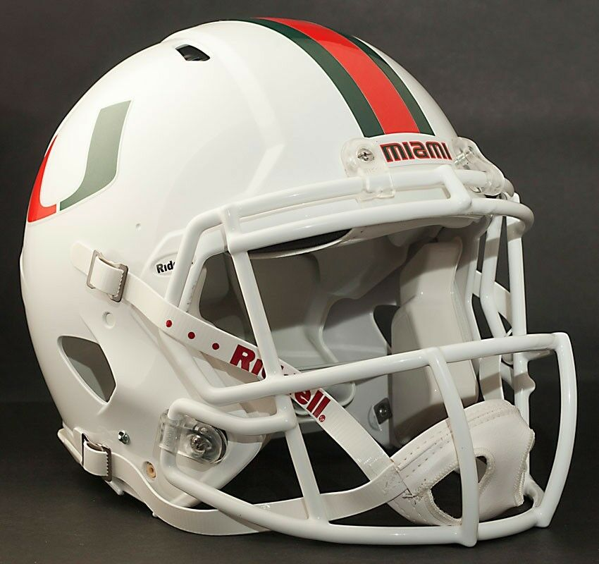 Football Helmet Stickers : Miami hurricanes mini football helmet nameplate