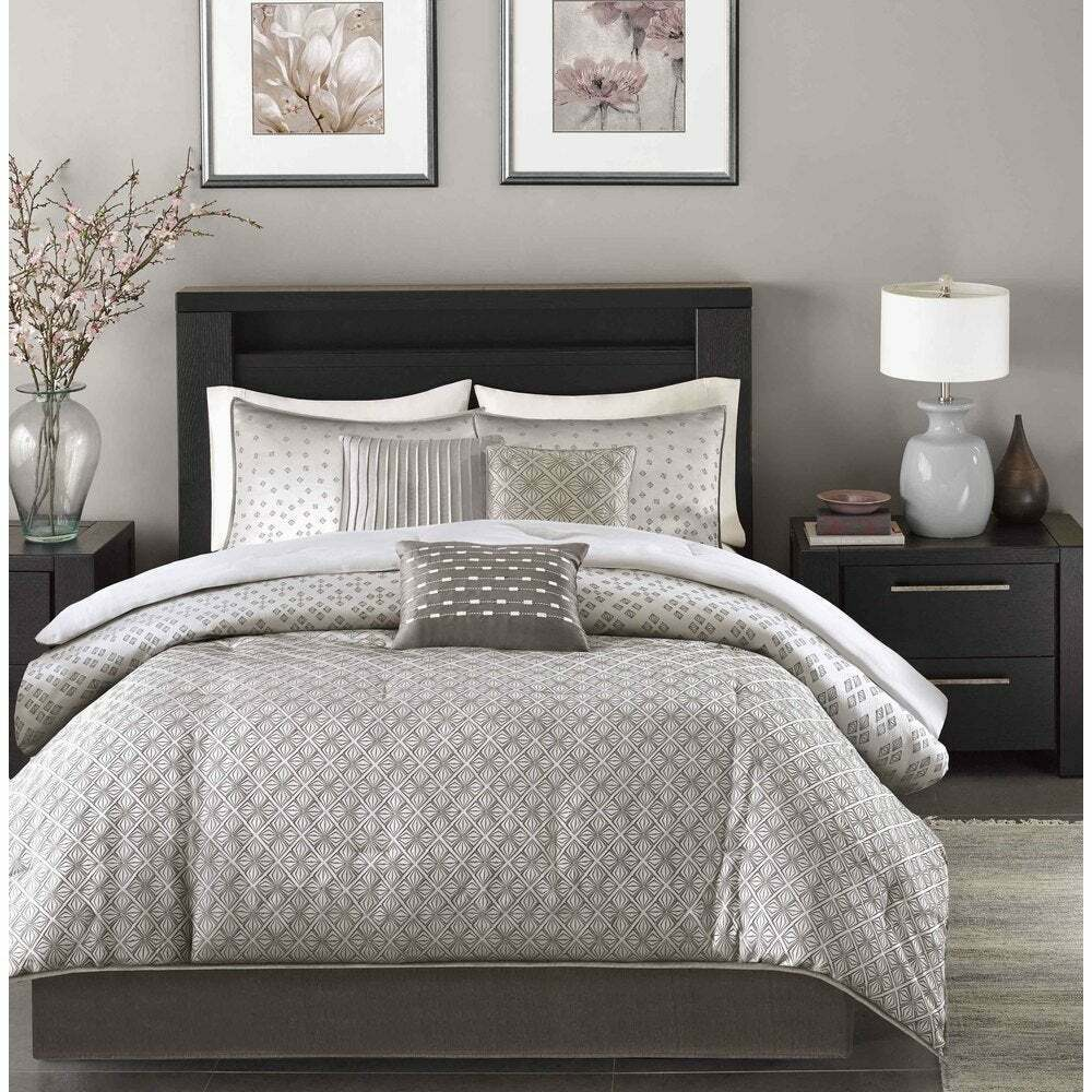Beautiful 7 Pc Modern Chic Elegant Purple Plum Grey
