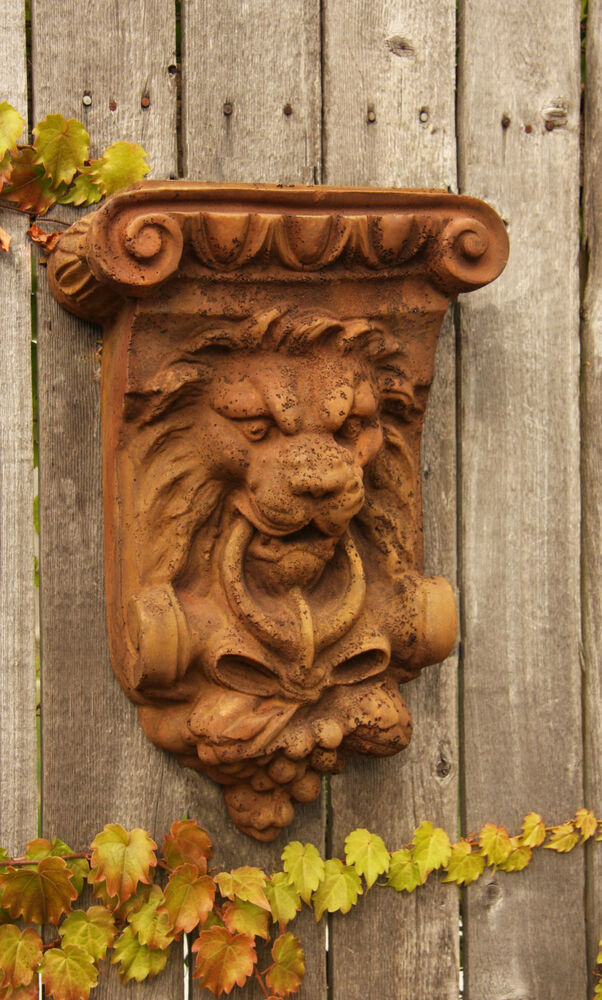 vintage lion architectural wall plaque garden sculpture