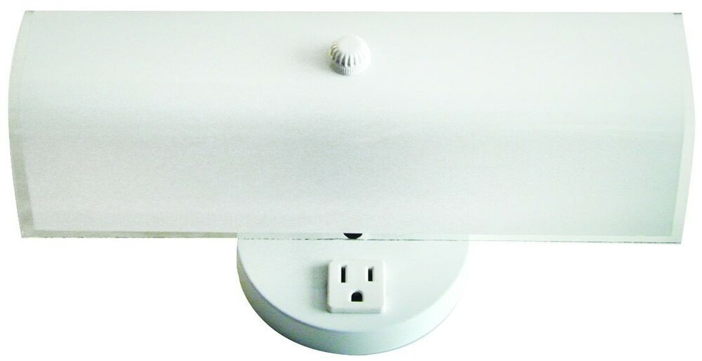 Wall Lamp With Electrical Outlet : 2 Bulb Bathroom Vanity Light Fixture Wall Mount with Plug-in Outlet, White eBay
