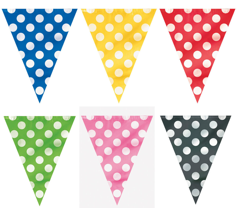 12ft polka dot spotty flag banner bunting garland party for Advanced molding and decoration s a de c v