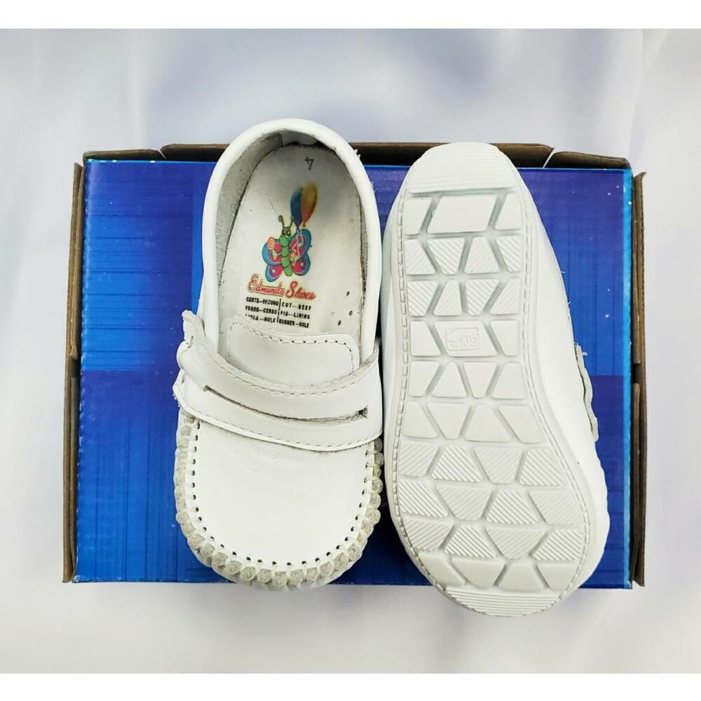 Baby Boy White Leather High Top shoes with Hook & Loop Sz