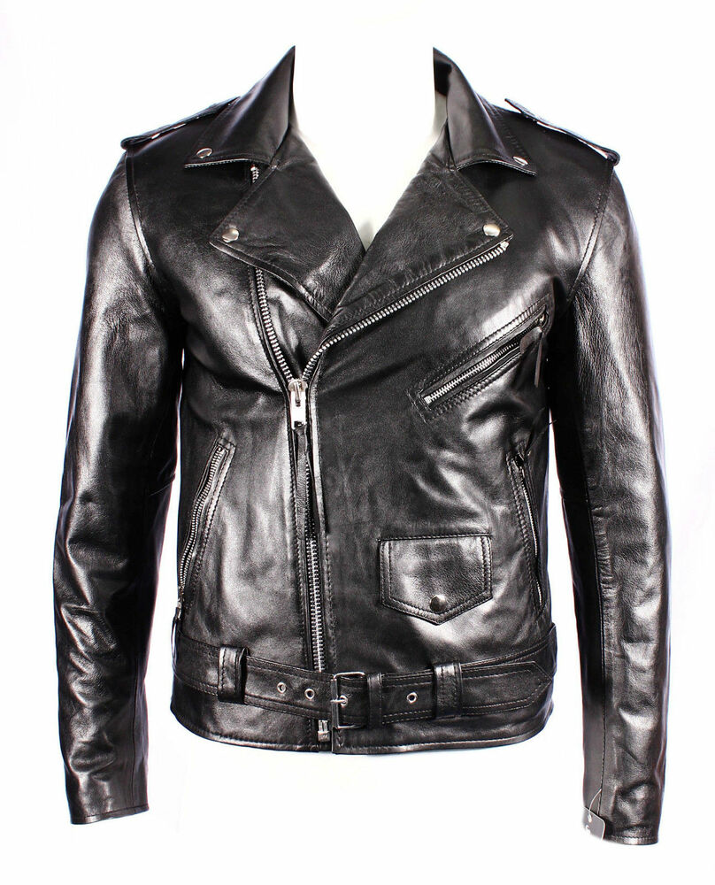 herren lederjacke brando enge passform schwarz echtes lammleder biker jacke ebay. Black Bedroom Furniture Sets. Home Design Ideas