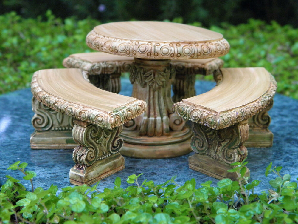 miniature dollhouse fairy garden furniture aged resin table bench set new ebay. Black Bedroom Furniture Sets. Home Design Ideas