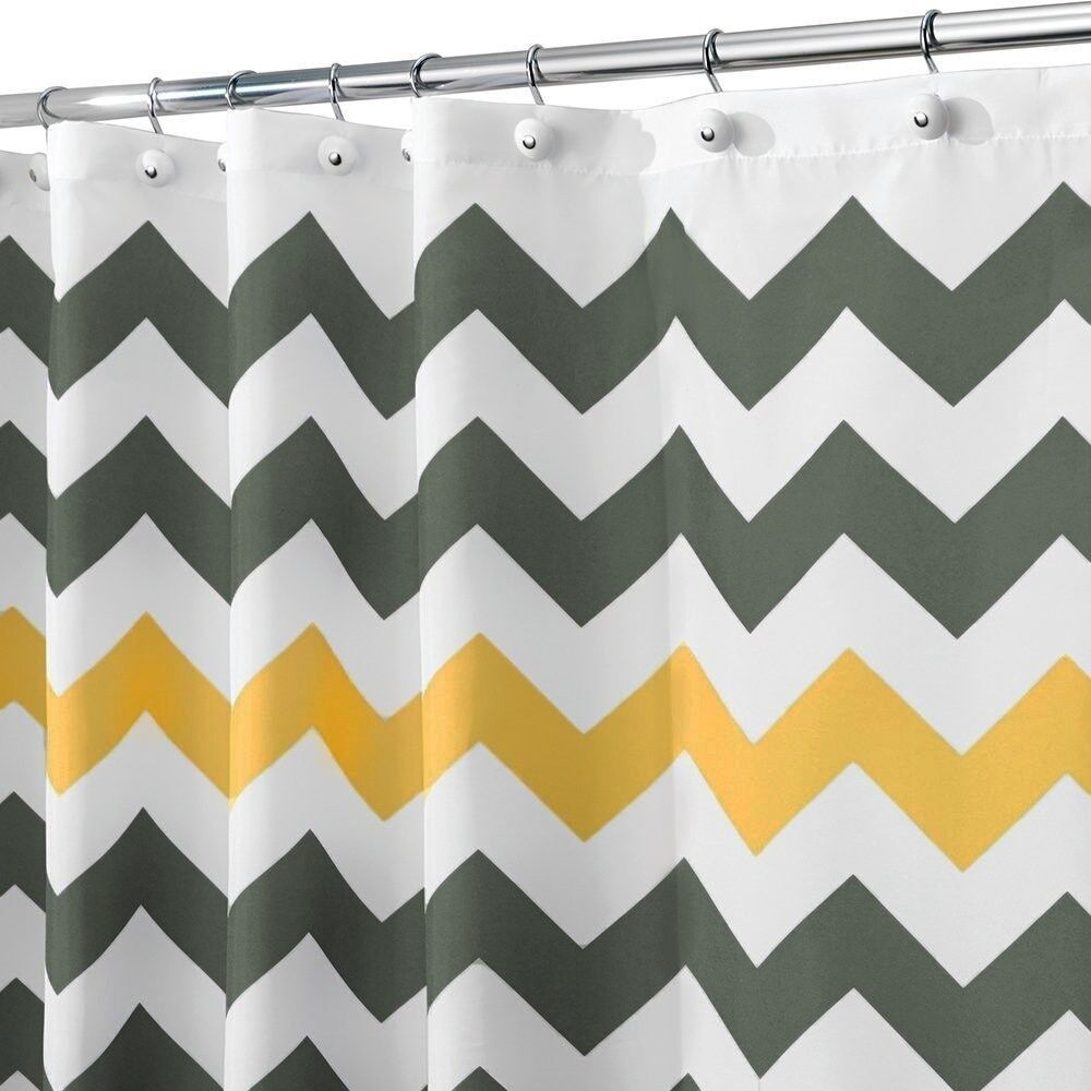 shower curtain chevron artistic yellow and grey bath
