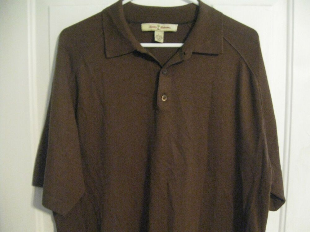 Tommy bahama men 39 s polo golf shirt size large solid for Mens chocolate brown shirt