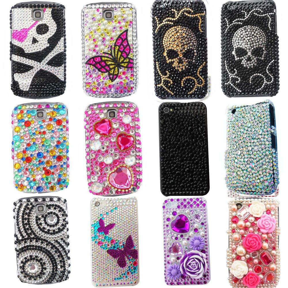 NEW BLING COOL FLOWER SKULL PINK DIAMANTE CASE COVER APPLE IPHONE 4S 5 ...