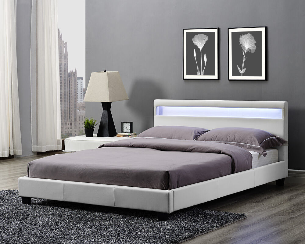 Double king size bed frame led headboard night light and for Fevicol bed furniture design