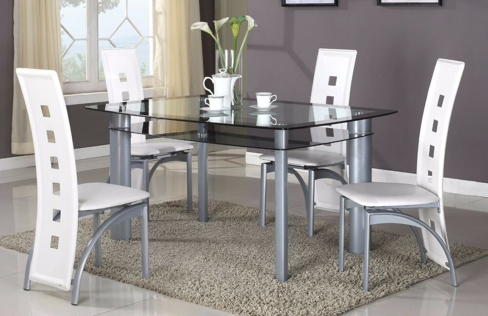 Brand New 5 Pcs Modern Dining Set Glass Top Dining Room Table 4 Chairs