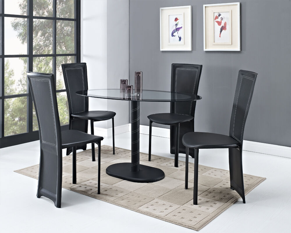 cameo oval black glass dining table with optional 4 or 6 faux leather chairs new ebay. Black Bedroom Furniture Sets. Home Design Ideas