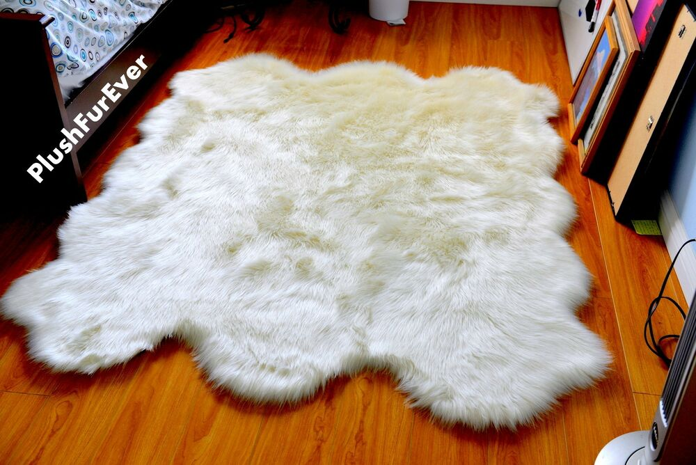 60 x 72 white plush faux fur sheepskin area rug home accents decor new rugs ebay - Faux animal skin rugs ...