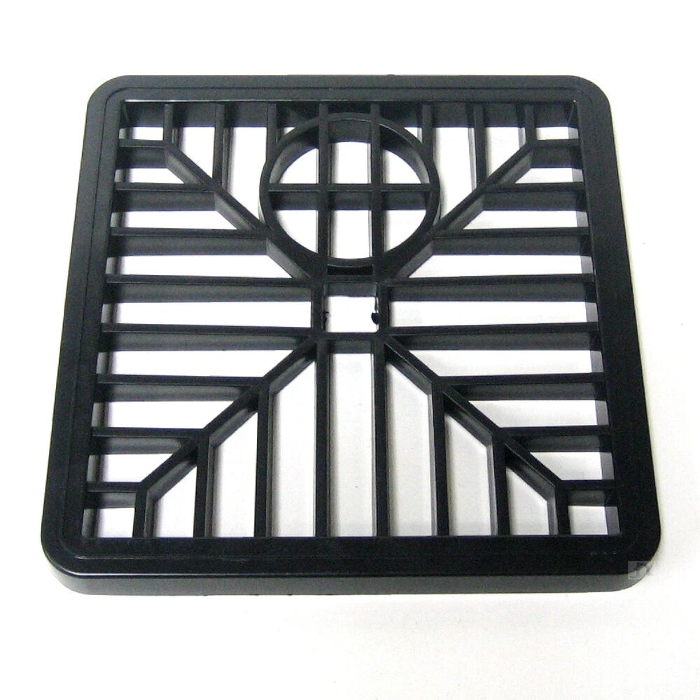"6"" Black Drain Cover Square Gulley Grid / Plastic Drainage"