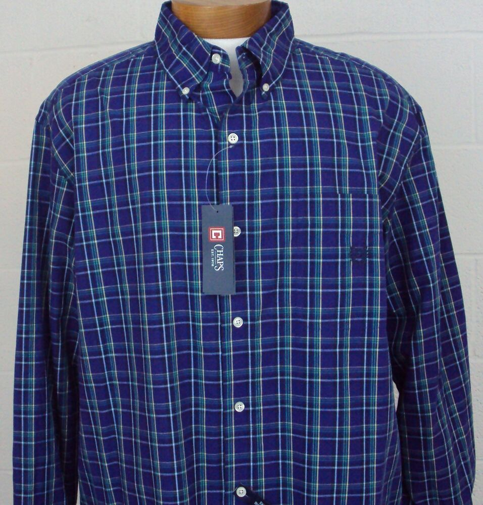 Sport Shirt Big And Tall Chaps Ls Bluish Purple Easy Care