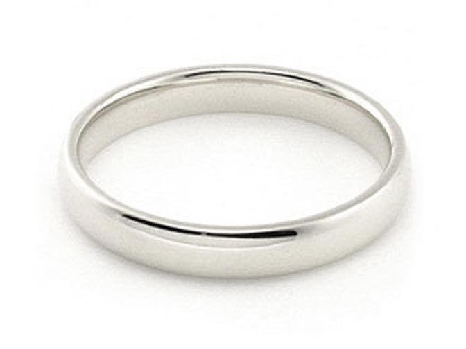 3mm 18K WHITE GOLD ROUND PLAIN SHINY COMFORT FIT WEDDING BAND RING