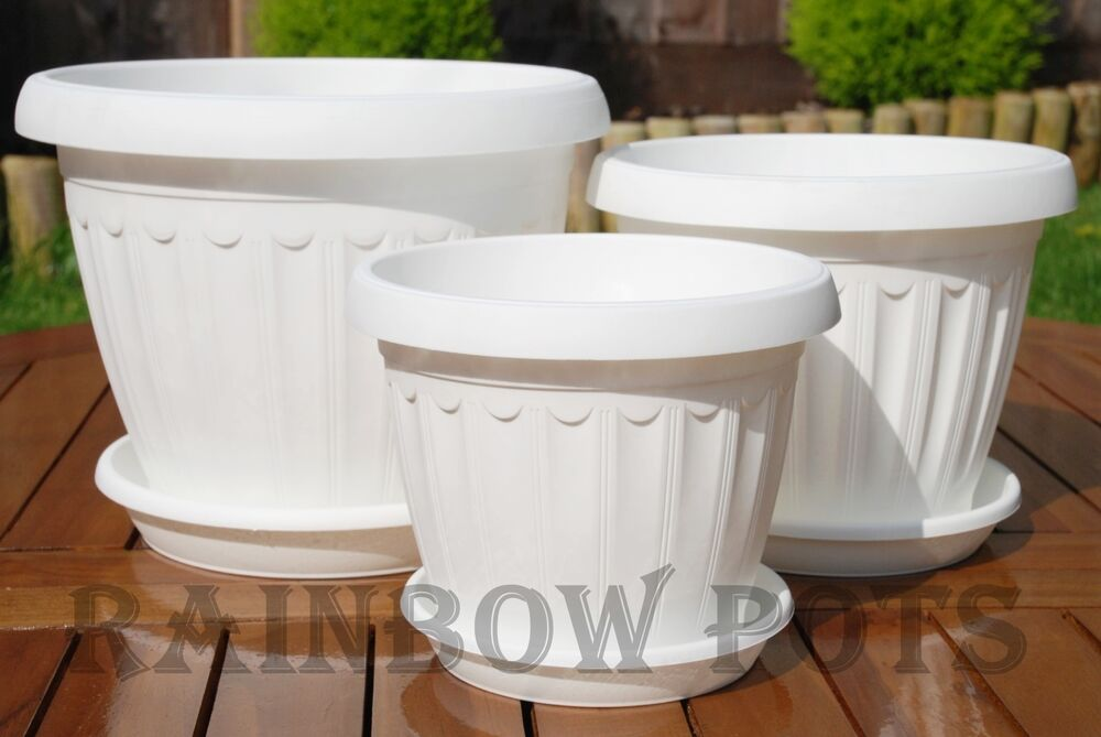 Coloured plastic flower plant pots planters saucer tray 17 20 25 30 white ebay - Indoor plant pots with saucers ...