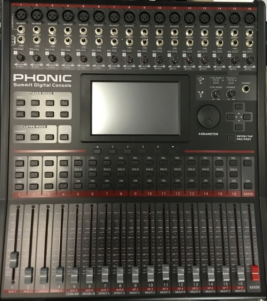 phonic summit 16 channel digital mixer mixing console ebay. Black Bedroom Furniture Sets. Home Design Ideas