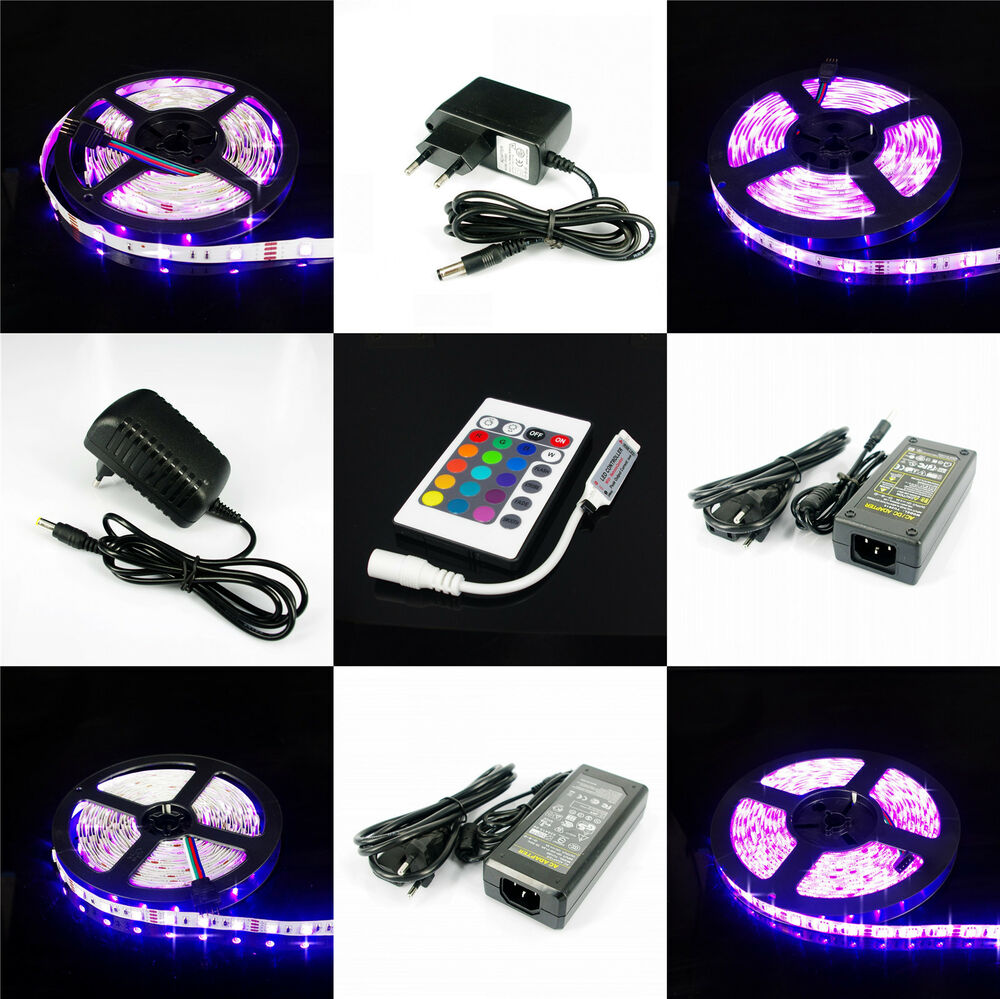 1m 2m 3m 4m 5m rgb 5050 led selbstklebend strip mini 24t ir ferndebienung trafo ebay. Black Bedroom Furniture Sets. Home Design Ideas