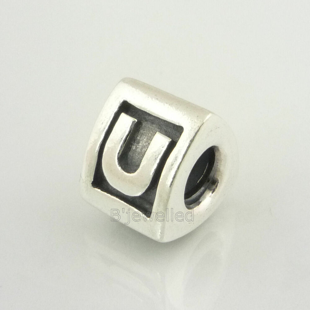 authentic genuine pandora sterling silver letter u charm With pandora silver letter charms