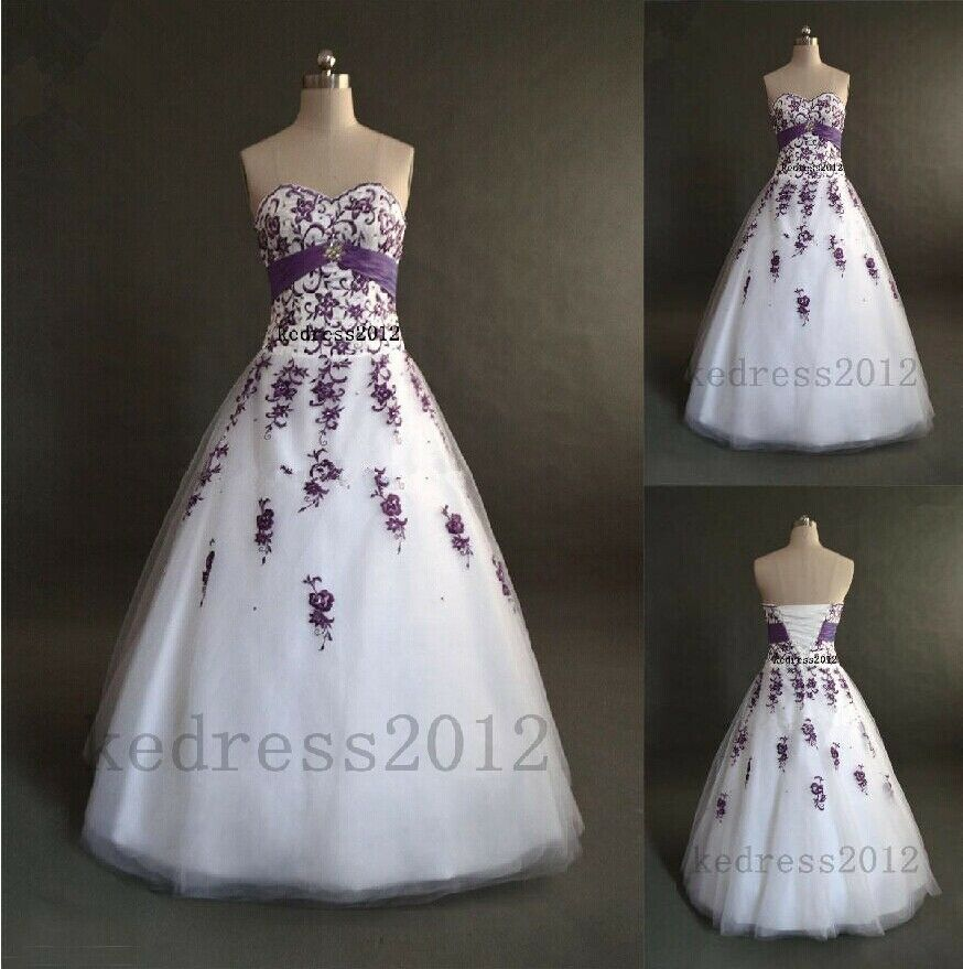 Stock new white purple embroidery bridal wedding dress for Ebay wedding dresses size 12