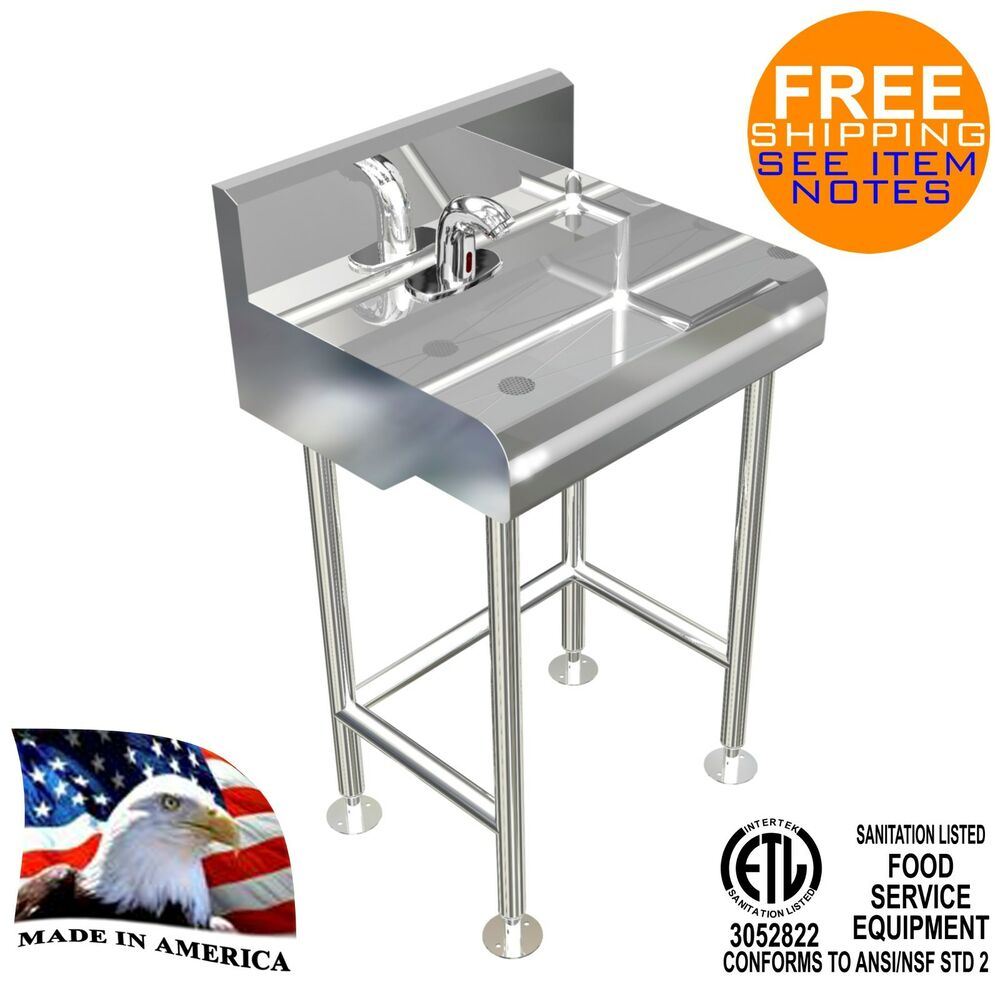 Commercial Kitchen Sink Faucet Ebay - Hand sink 1 user 24x21 electronic faucet hands free made in usa ebay